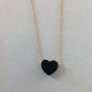 Forever 21 Small Black Heart Necklace